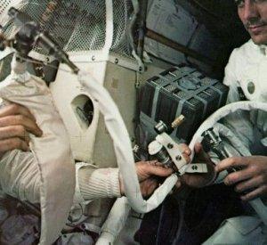 Jerry-rigged lunar module carbon dioxide filter
