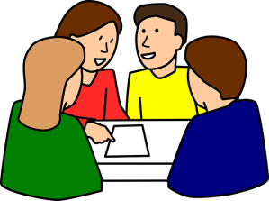 Students working in a team.